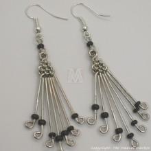 Silver Wire Maasai Bead Fan Earrings
