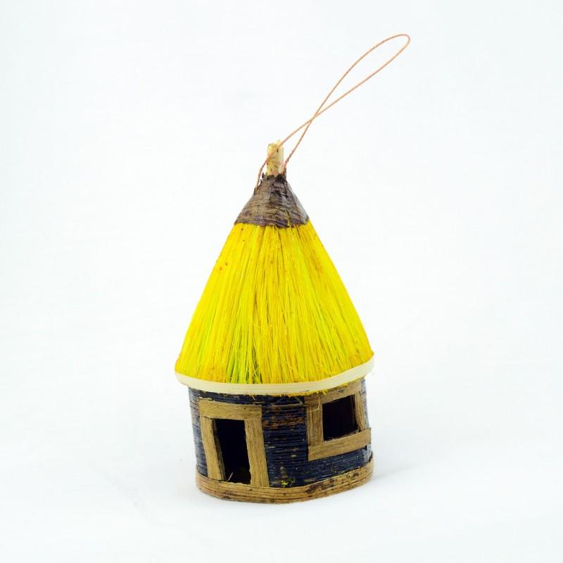 Handmade Banana Fiber Hut Christmas Ornaments
