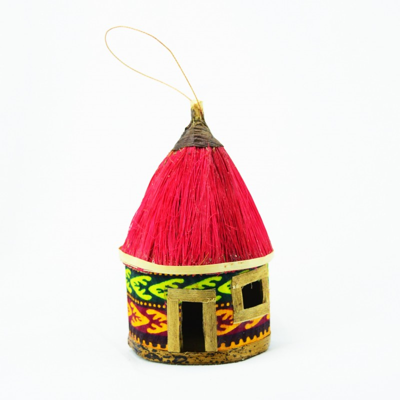 Handmade Banana Fiber Kitenge Hut Christmas Ornaments