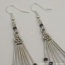 Silver Wire Maasai Bead Fan Earrings