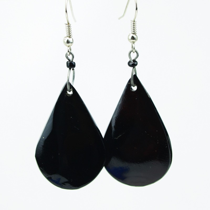 Dark Cow Horn Earrings