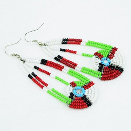 Maasai Bead Long Tear Drop Earrings