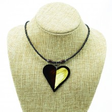 Heart Shape Cow Horn Pendant Necklace
