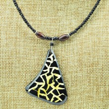 Triangular Giraffe Print Cow Horn Pendant Necklace