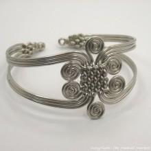 Silver Coil Weave Bracelet Bangle