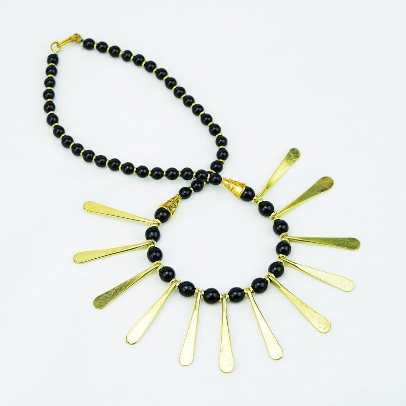 Brass Spokes Sunburst Necklace