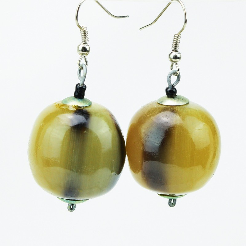 Sphere Cow Horn Bead Earrings