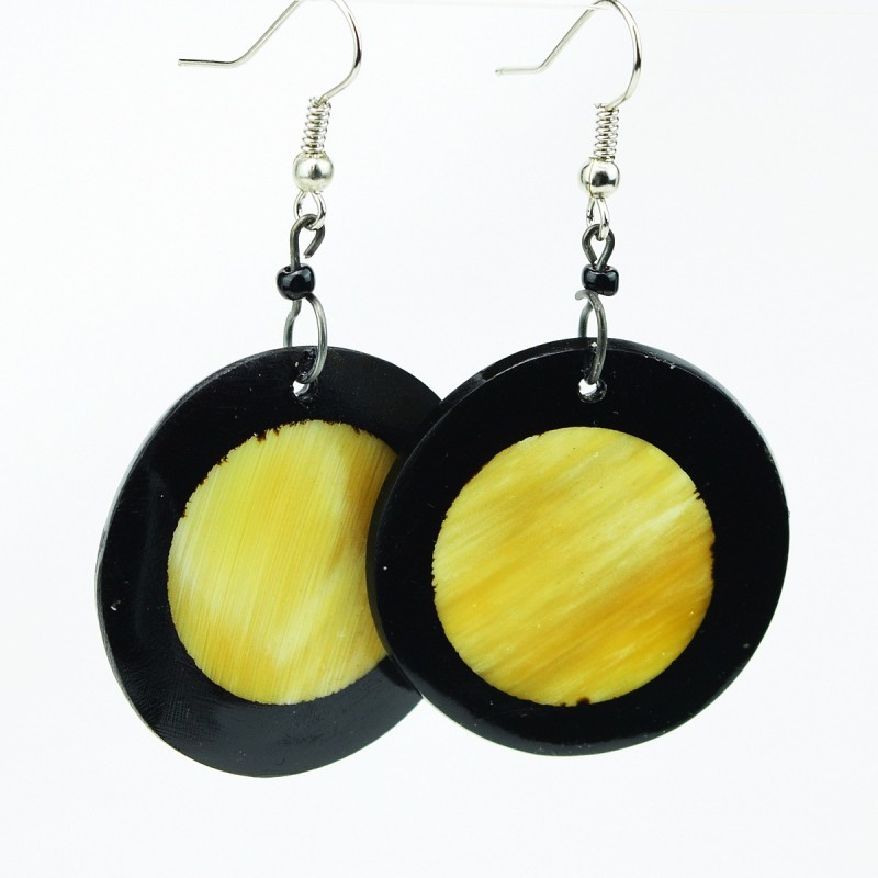 Full Moon Disk Cow Horn Earrings