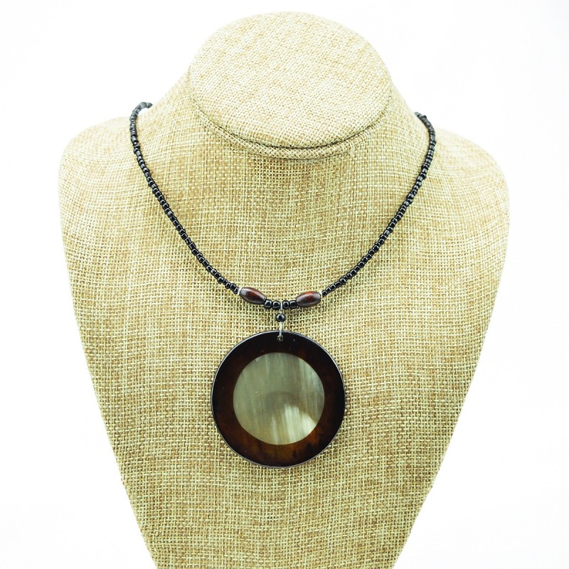 Full Moon Cow Horn Disk Pendant Necklace