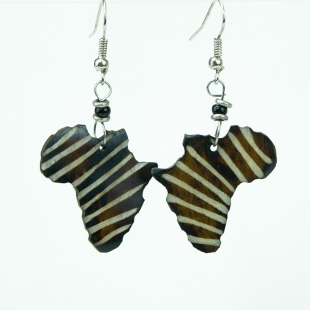 Brown African Shape Earrings