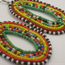 Maasai Multi Color Tear Drop Earrings Green