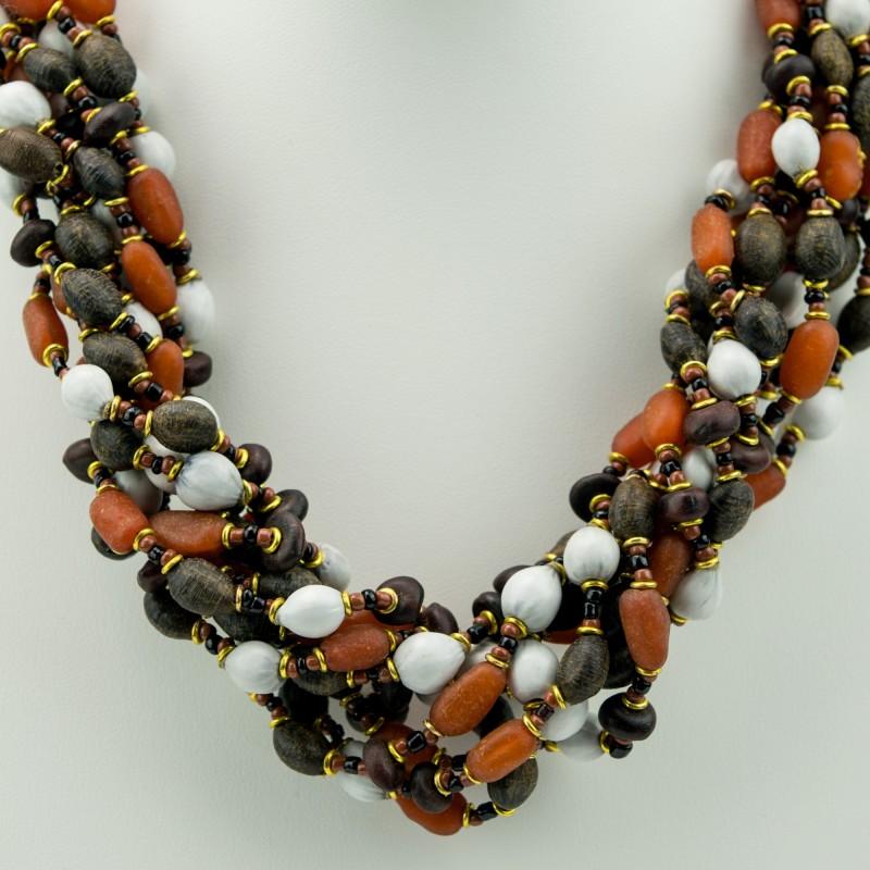 Kenya Mixed Seed Bead Multi Strand Necklace