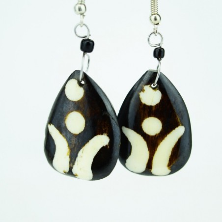 Triangular Batik Bone earrings