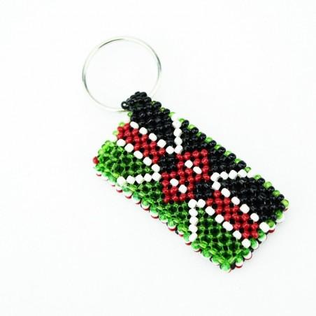 Kenya Flag Maasai Bead Keychain