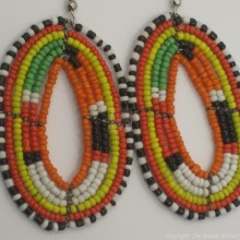 Maasai Tear Drop Earrings Orange