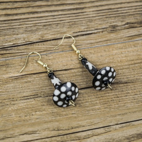 Nuru Batik Print Bone Earrings