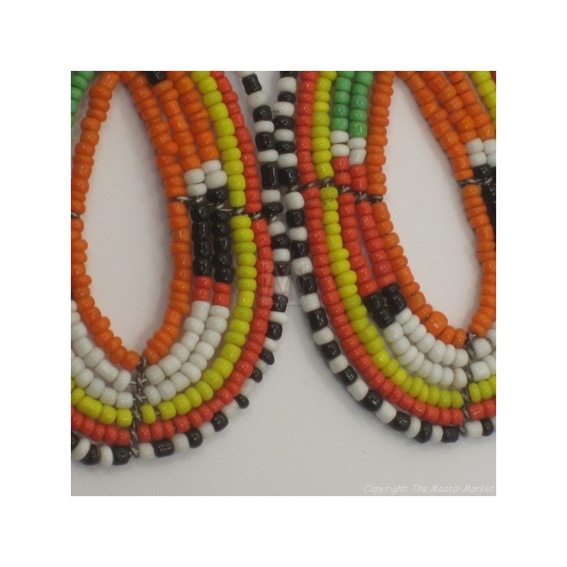 Maasai Tear Drop Earrings Orange