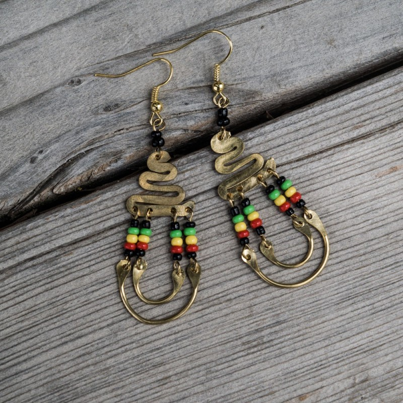 Brass Maasai Beads Rasta Earrings