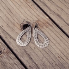 Recycled aluminium tear drop earrings