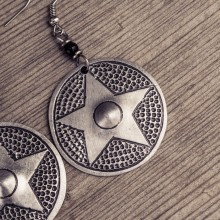 Recycled Aluminium Round Star Earrings