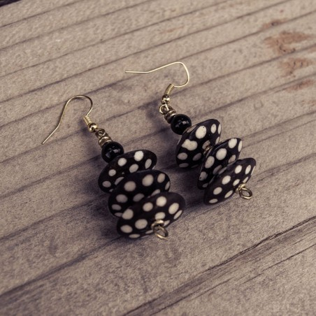 Batik Print Bone Disk Bead Earrings 169