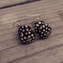 Batik Print Bone Disk Bead Earrings