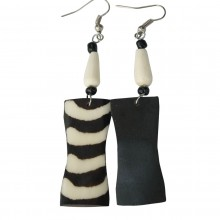 Mistari Batik Print Bone Earrings