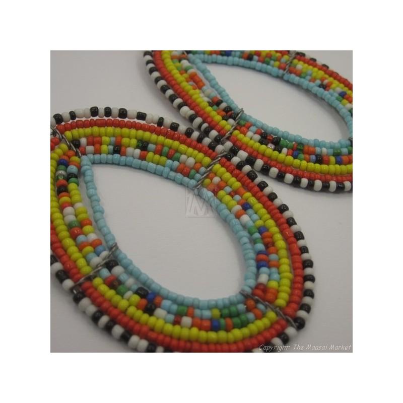 Maasai Multi Color Tear Drop Earrings Blue