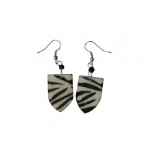 Cow Bone Maasai Shield Zebra Print Earrings