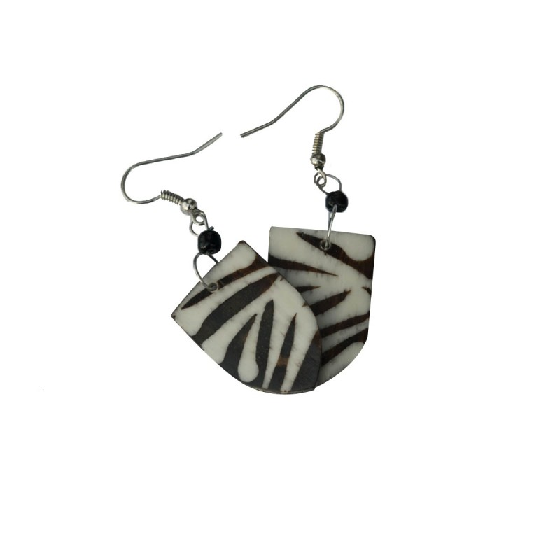 Cow Bone Maasai Shield Zebra Print Earrings