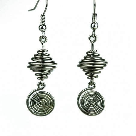 Silver Wire Spiral and Vortex Earrings