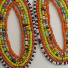 Maasai Multi Color Tear Drop Earrings Orange