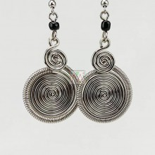 Silver Wire two Spirals Earrings