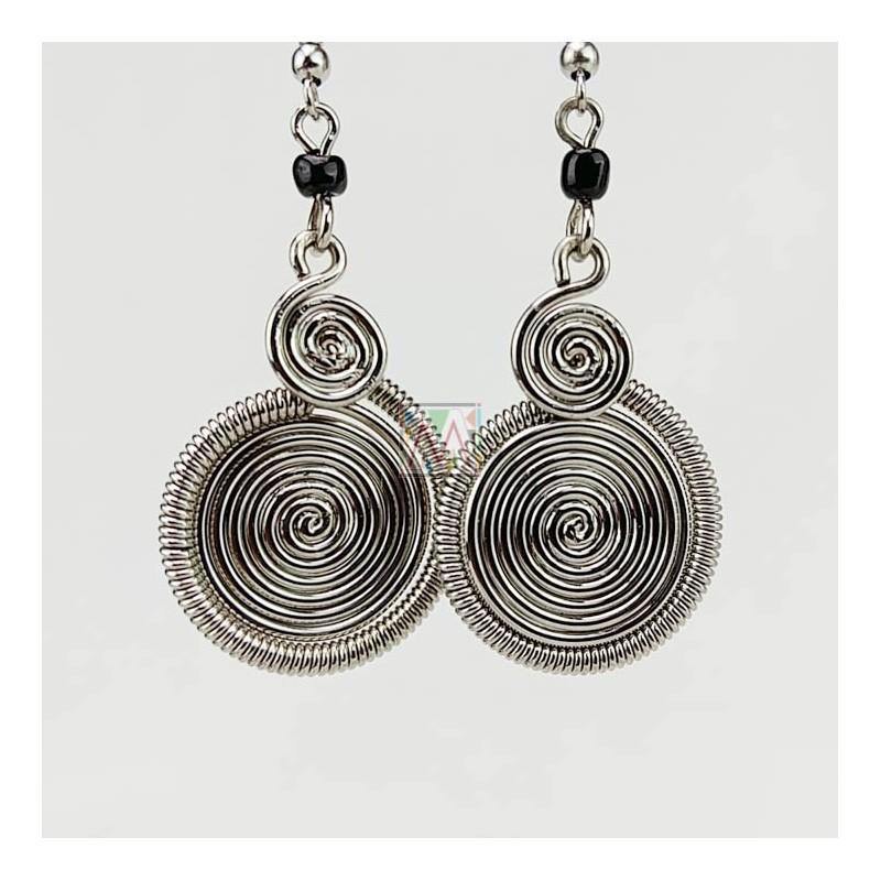 Silver Wire two Spirals Earrings