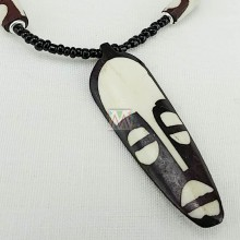 Tribal Mask Cow Bone Pendant Necklace