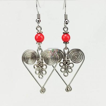 Silver Maasai Bead Spiral Weave Heart Earring