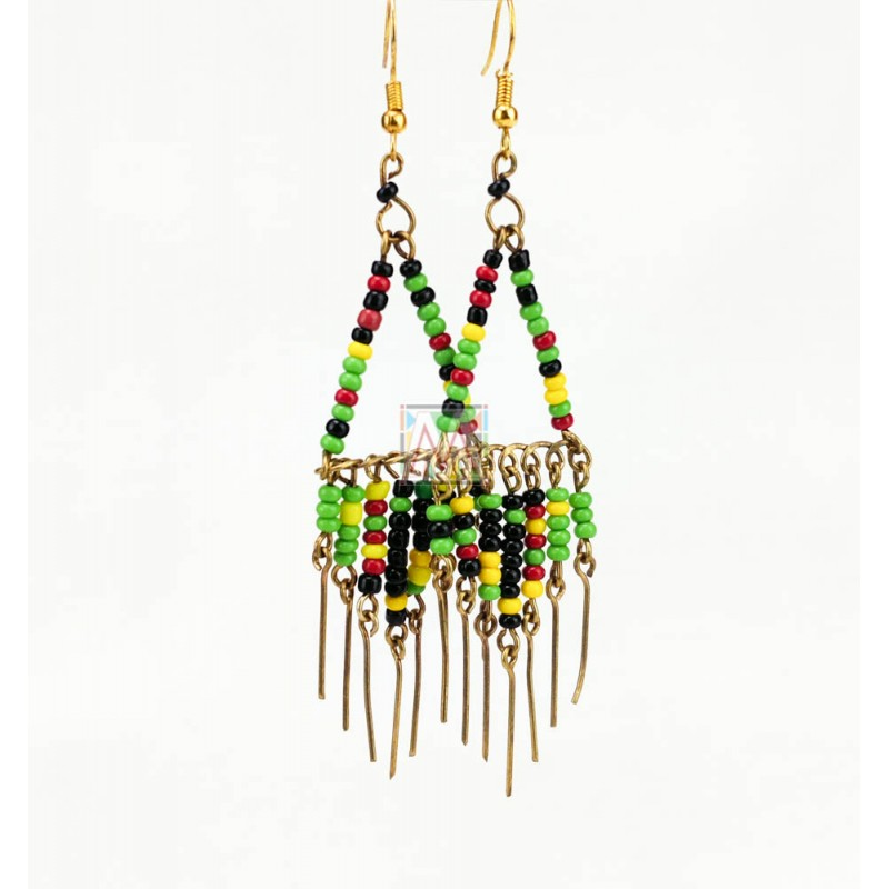 Brass Maasai Beads Rasta Earrings 150-98
