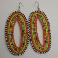 Maasai Multi Color Tear Drop Earrings Orange