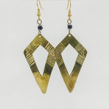 Cut-Out Kite Triangle Brass Earrings