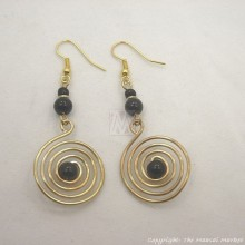 Brass Wire Color Bead Swirl Earrings Black