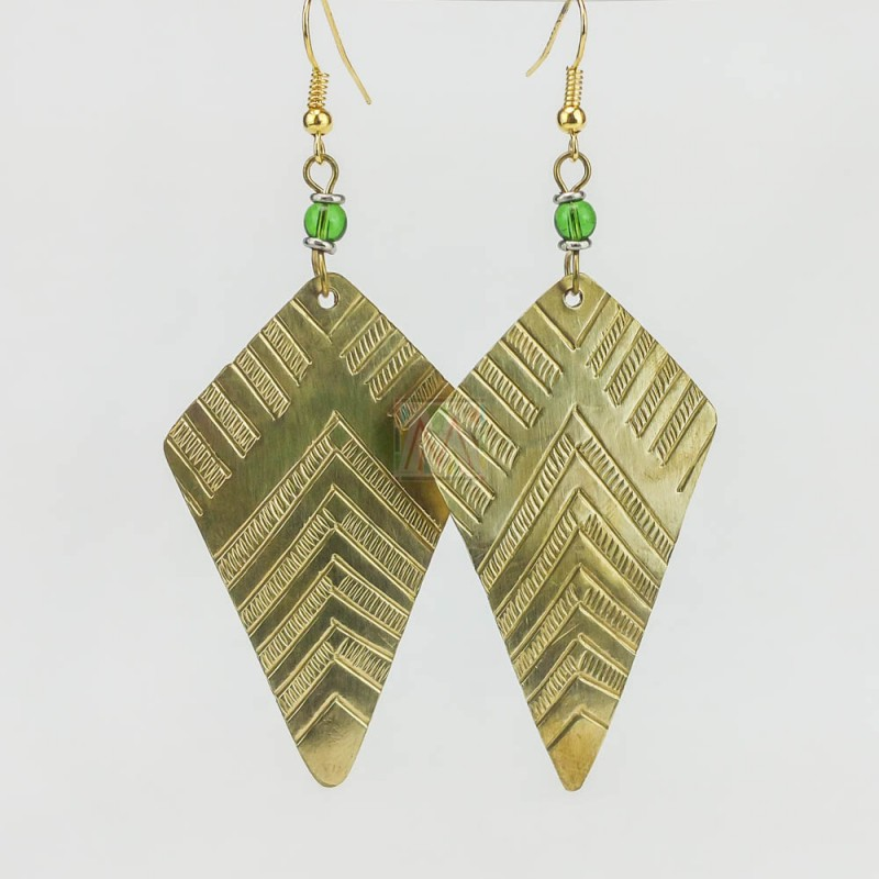 Cut-Out Kite Triangle Brass Earrings