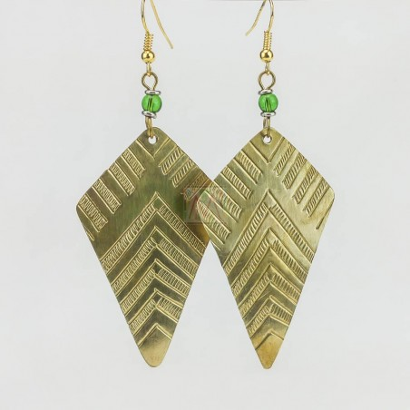 Kite Triangle Brass Earrings