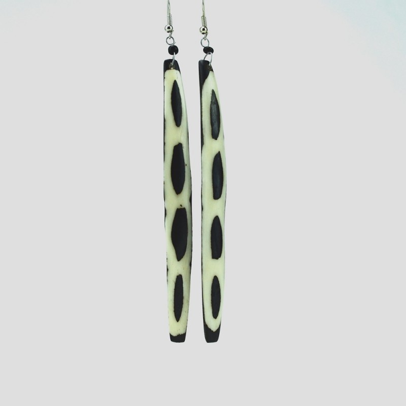 Cow Bone Mud Cloth Giraffe Print Long Dangle Earrings 537-4