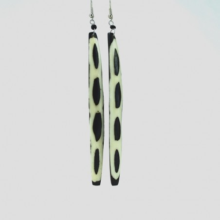 Cow Bone Mud Cloth Giraffe Print Long Dangle Earrings