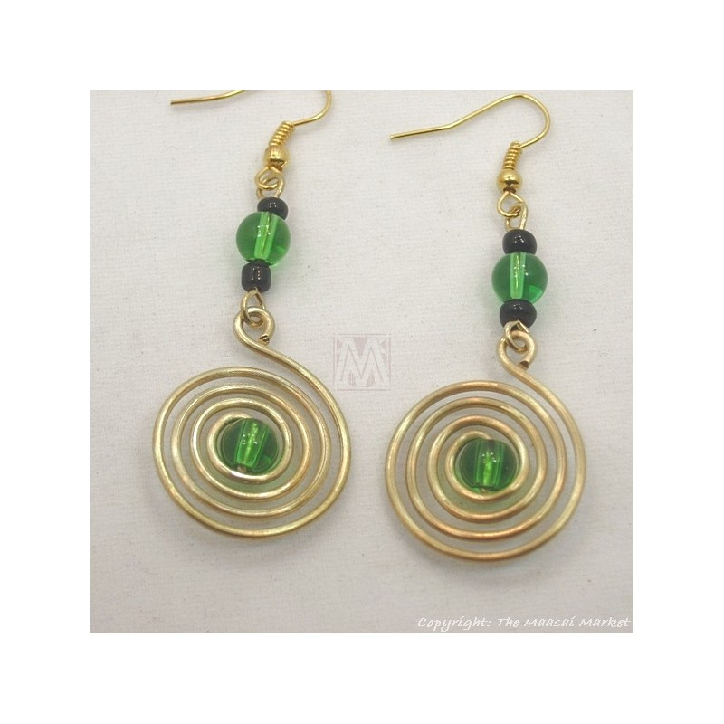 Brass Wire Color Bead Swirl Earrings Dark Green