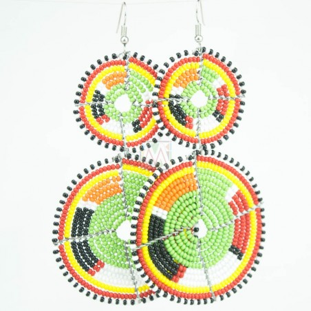 Tiered Green Multi Color Maasai Beaded Earrings MM-623