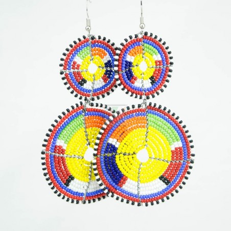 Tiered Yellow Multi Color Maasai Beaded Earrings MM-621