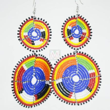 Tiered Blue Multi Color Maasai Beaded Earrings MM-617