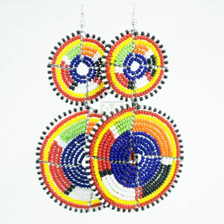 Tiered Dark Blue Multi Color Maasai Beaded Earrings MM-620
