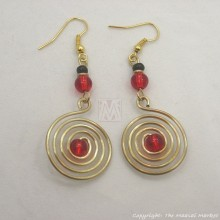 Brass Wire Color Bead Swirl Earrings Red